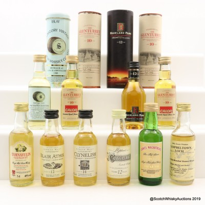 Assorted Minis 10 x 5cl Including Highland Park 12 Year Old Dumpy Bottle