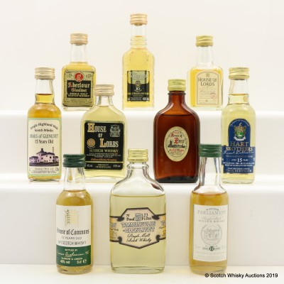 Assorted Minis 10 x 5cl Including Scottish Parliament 12 Year Old