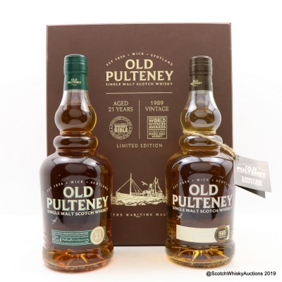 Old Pulteney 21 Year Old & 1989 Vintage Presentation Box 2 x 70cl