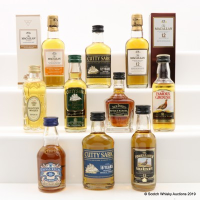 Assorted Minis 10 x 5cl Including Macallan 12 Year Old