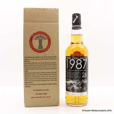 Dunedin 1987 26 Year Old New Zealand's 1987 New Zealand Whisky Co
