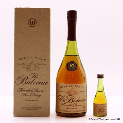 Balvenie 10 Year Old Founder's Reserve Cognac Bottle 75cl & Matching Mini 5cl