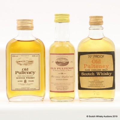 Old Pulteney 8 Year Old Gordon & MacPhail Minis x 3
