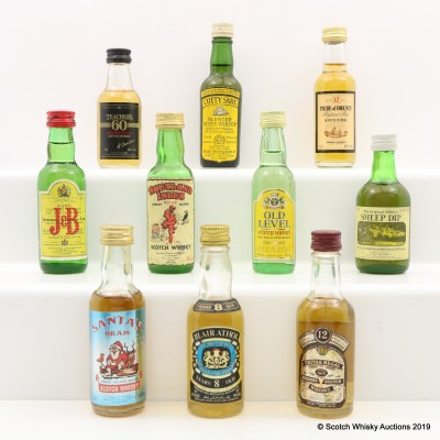 Assorted Minis 10 x 5cl Including Blair Athol 8 Year Old