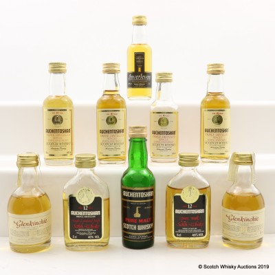 Assorted Minis 10 x 5cl Including Auchentoshan Old Style 1 2/3 Fl Oz