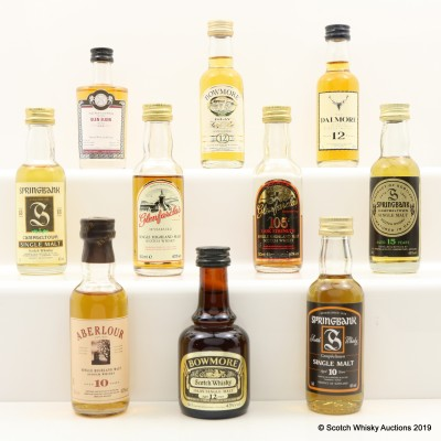 Assorted Minis 10 x 5cl Including Bowmore 12 Year Old Dumpy