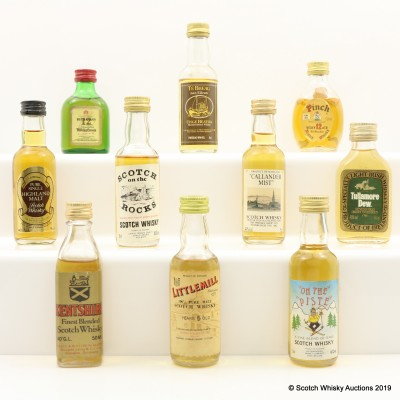 Assorted Minis 10 x 5cl Including Littlemill 5 Year Old