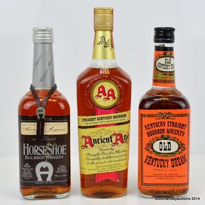 Ancient Age Straight Bourbon, Old Kentucky Dream & Horse Shoe Straight Bourbon
