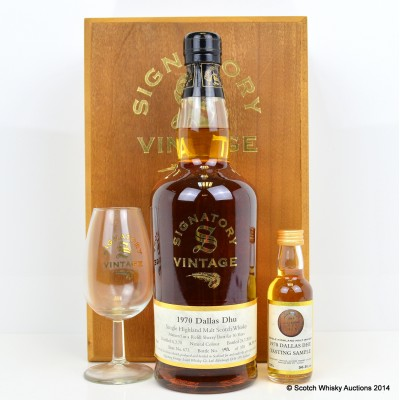 Dallas Dhu 1970 30 Year Old Signatory With Tasting Sample and Glass