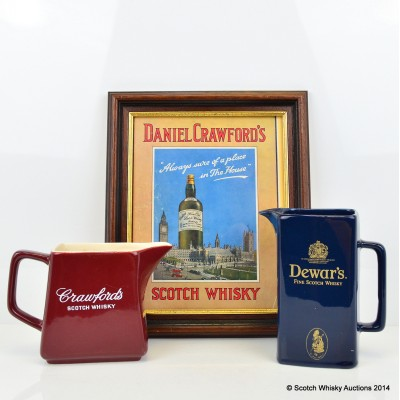 Daniel Crawford's Framed Print, Crawford's Ceramic Water Jug & Dewar's Ceramic Water Jug