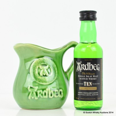 Ardbeg 10 Year Old Mini 5cl & Small Ceramic Water Jug