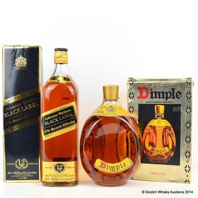 Johnnie Walker Black Label 12 Year Old 1L & Dimple 1L
