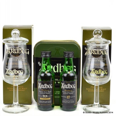 Ardbeg 17 Year Old & 10 Year Old Mini 2 x 5cl & Tasting Glassing