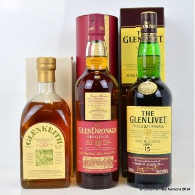 Glenkeith 10 Year Old 75cl, GlenDronach 12 Year Old & Glenlivet 15 Year Old French Oak Reserve