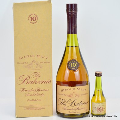 Balvenie Founder's Reserve 10 Year Old Cognac Bottle & Matching Mini