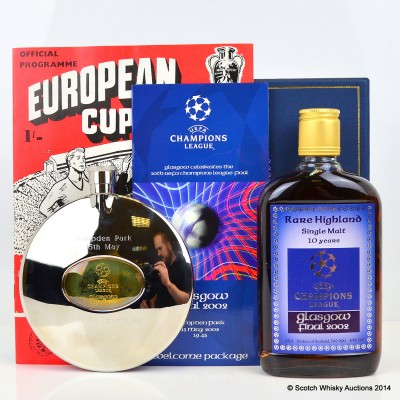 Glasgow 2002 Champions League Final Rare Highland Single Malt 35cl, Hip Flask, Match Programme, Match Ticket & 1960 European Cup Final Replica Programme