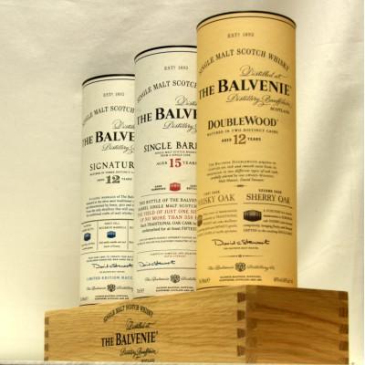 Balvenie Trio on wooden plinth