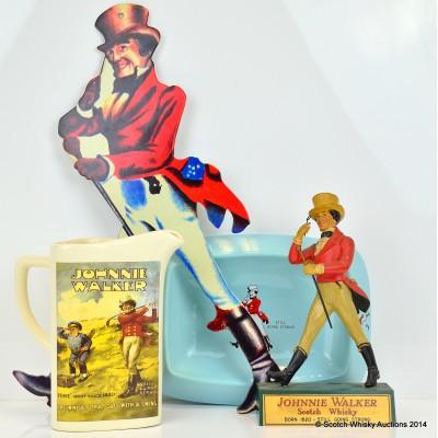 Johnnie Walker Model, Wall Plaque, Ceramic Water Jug & Ash Tray