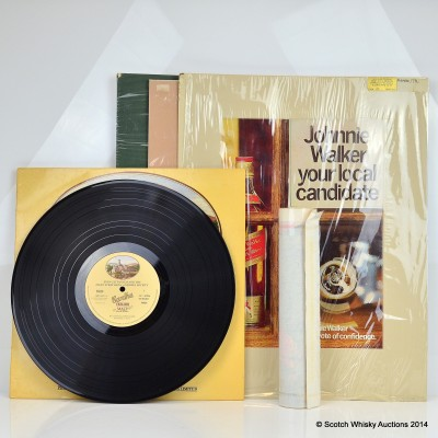 Johnnie Walker Prints x 3, Cardhu Ceilidh Malt Vinyl Record & Johnnie Walker Cocktail Glasses Poster