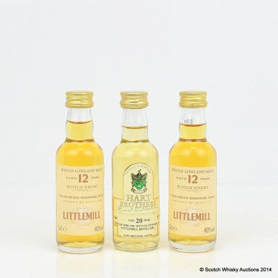 Littlemill 12 Year Old Minis 2 x 5cl & Littlemill 20 Year Old Hart Brothers Mini 5cl