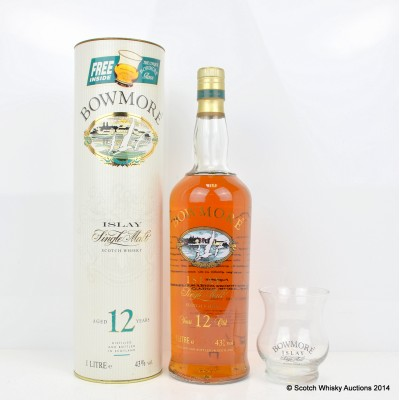 Bowmore 12 Year Old Screen Print 1L With Glass
